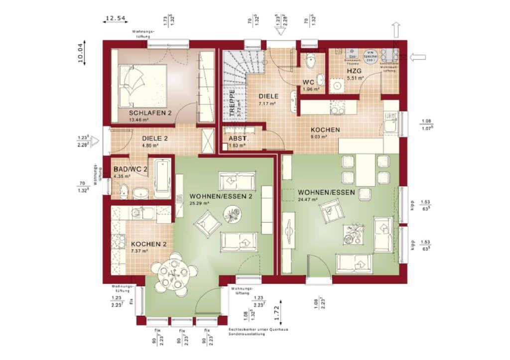 Einfamilienhaus mit Einliegerwohnung Grundriss Erdgeschoss - Haus - offene kuche wohnzimmer grundriss