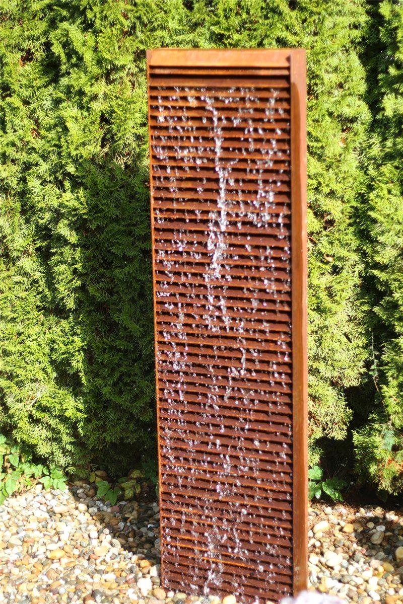 Wasserspiel Set Wasserwand Lamelle 150cm Cortenstahl Gartenbrunnen