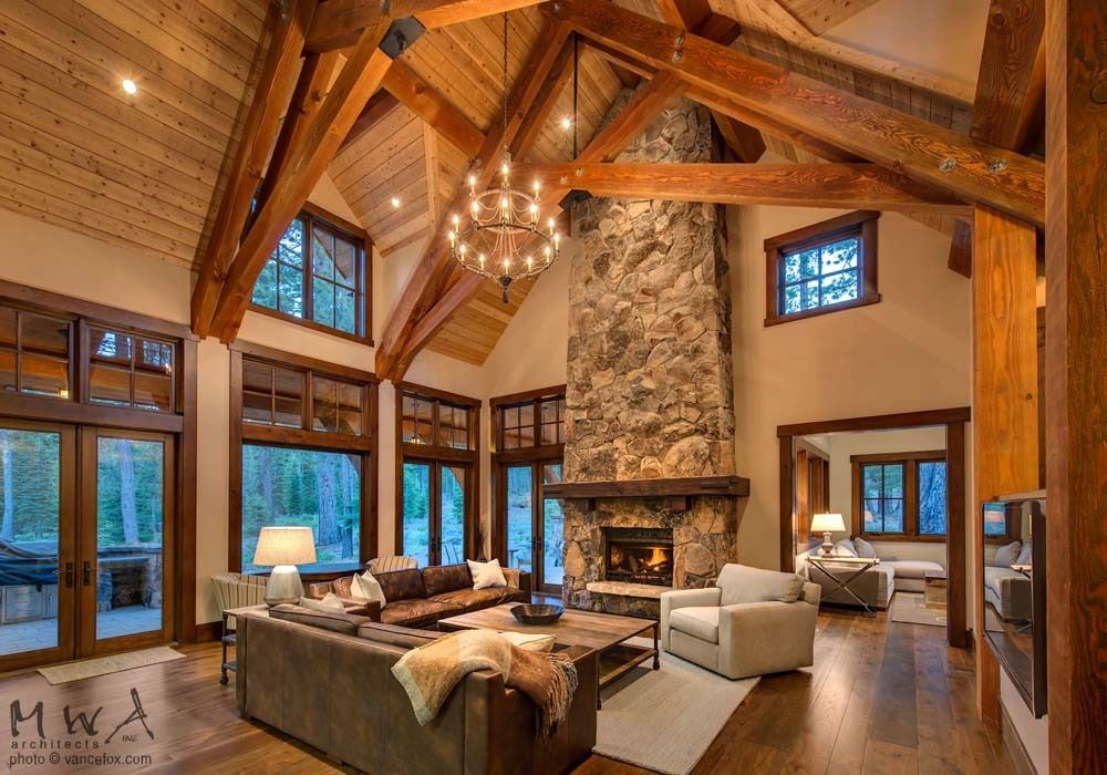 Great Room Beams Stone Fireplace Tahoe Pinterest