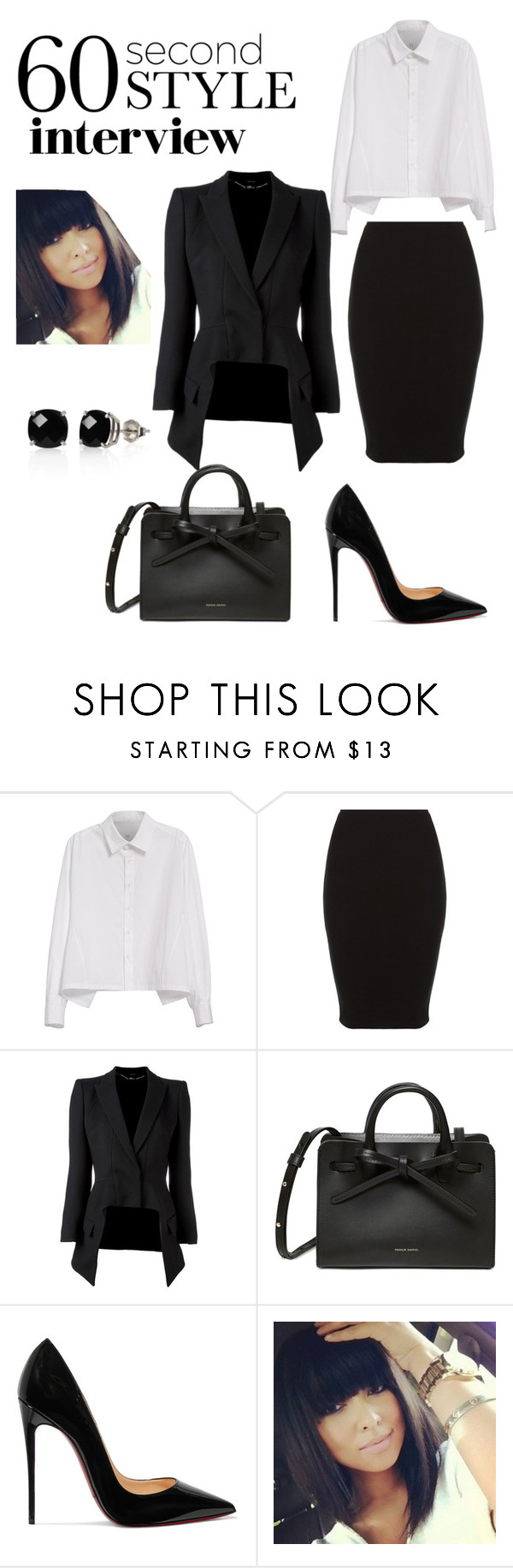 """""""60secound style job interview comp!"""" by brookeanna-1 ❤ liked on Polyvore featuring Y's by Yohji Yamamoto, Alexander McQueen, Christian Louboutin, Belk & Co., jobinterview and 60secondstyle"""