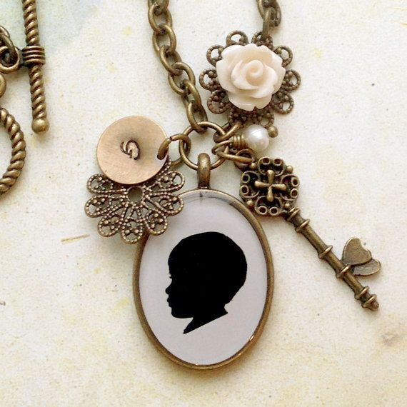 Custom Silhouette Necklace with Rose Cabochon by craftedbykerstin, - love maybe mothers day