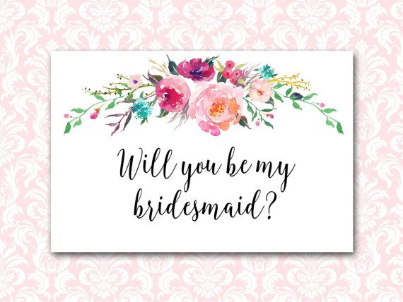 graphic about Bridesmaid Proposal Printable named Floral Bridesmaid Printable, Will Yourself Be My Bridesmaid