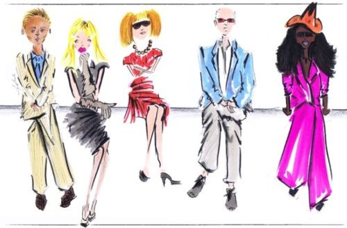 an illustration of fashion week's front row elitecommissionedby vogue.com creative director candy pratts price.