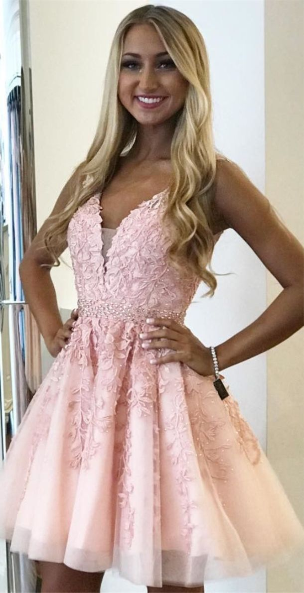 A-Line V-neck Above Knee Pink homecoming dress with beadwork #rosaspitzenkleider