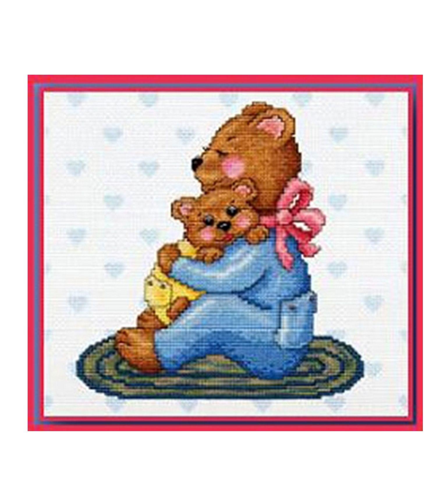 Free cross stitch design using DMC Impressions Aida: http://dmc-usa.com/Inspiration/Projects/Cotton-Floss-Cross-Stitching/Loving-Bear.aspx