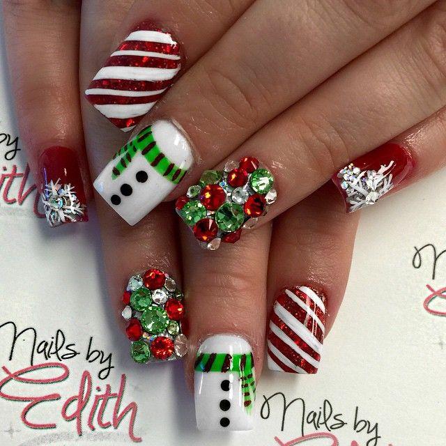 Winterchristmas Nail Design Christmas Nails Pinterest Winter
