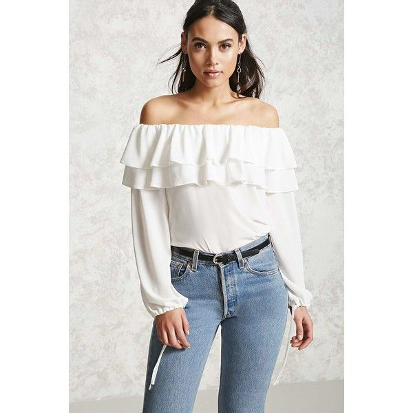 f20b79dab44724 Forever21 Off-the-Shoulder Flounce Top ( 20) ❤ liked on Polyvore featuring  tops