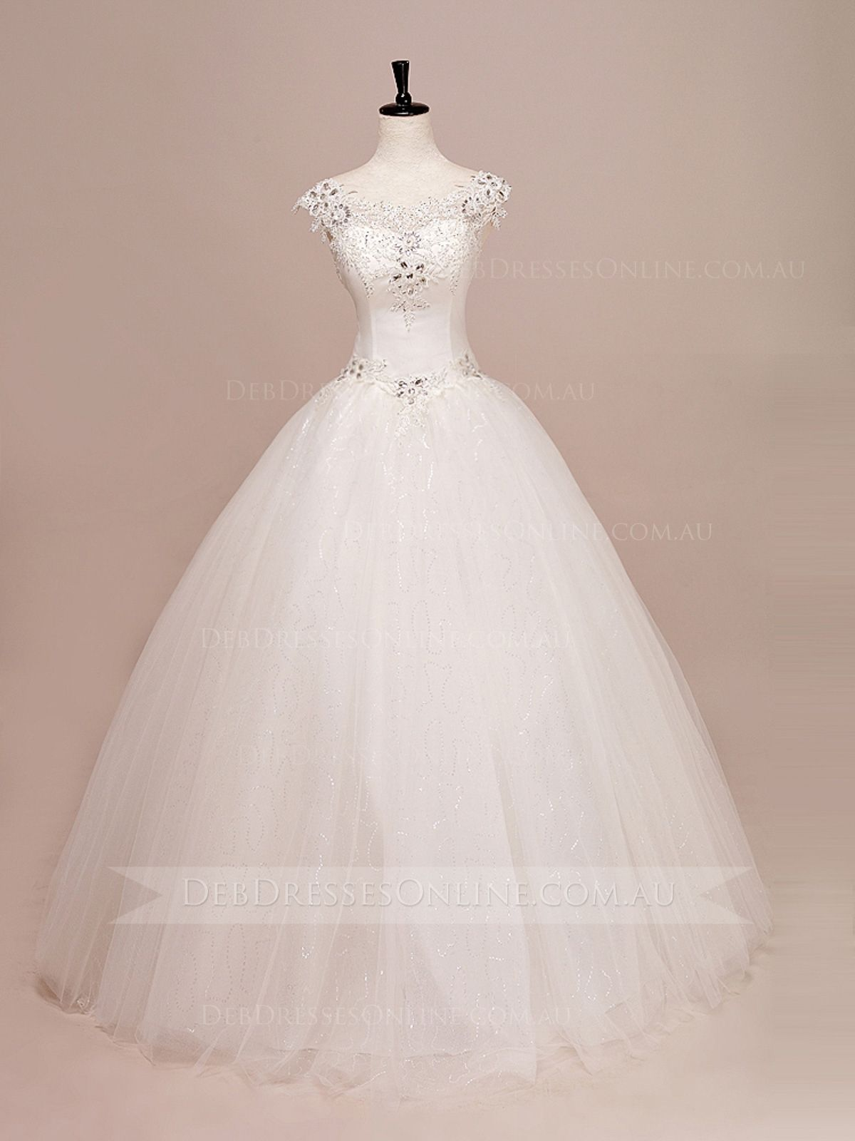 Bateau neckline lace cap sleeves fairytale ball gown vow front