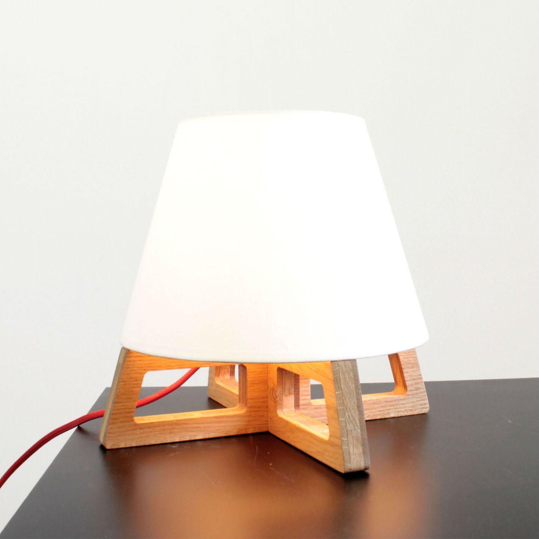 Blumen JUSTIN - Lampe de chevet Chêne/Lin fil rouge H25cm