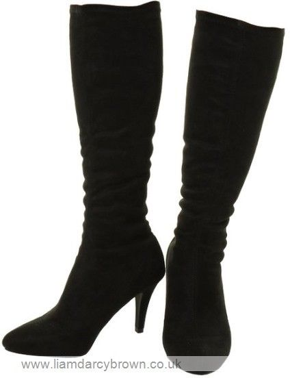 FIFI NEW WOMENS BOOTS MID KNEE HIGH CALF LOW KITTEN HEELS STRETCH PULL ON WINTER SIZE 3 4 5 6 7 8 To