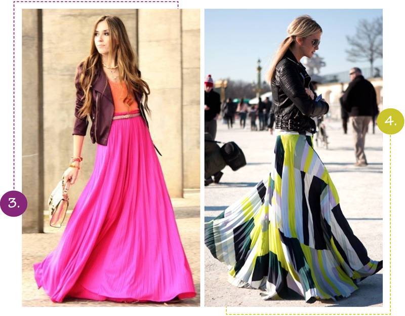 colored long skirt outfits | Color Blocked Hot Pink Orange loving ...