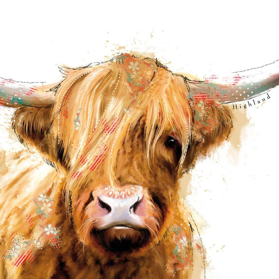 highland cow modern digital painting scotland by alscouzensdesigns