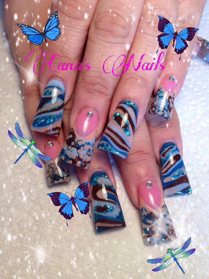 Pretty Nail Art On Duck Feet Nails Flare Tip Nails Fan Nails Wide Decorado De Unas Curved Nails Zebra Nails Nails