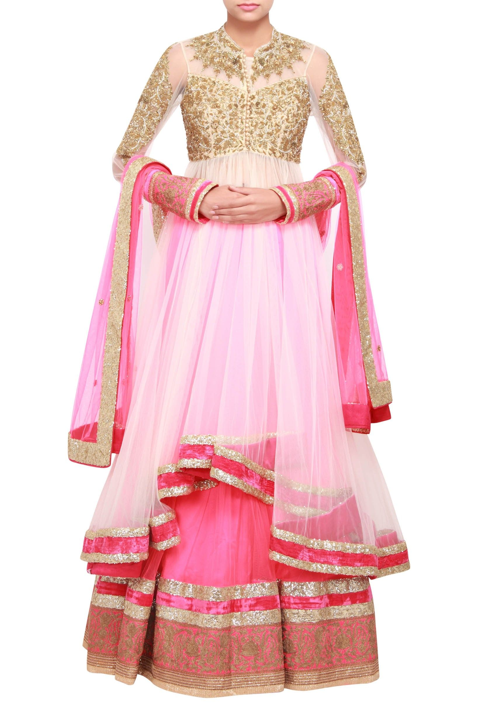 Long jacket lehenga featuring in net adorn with sequence only on