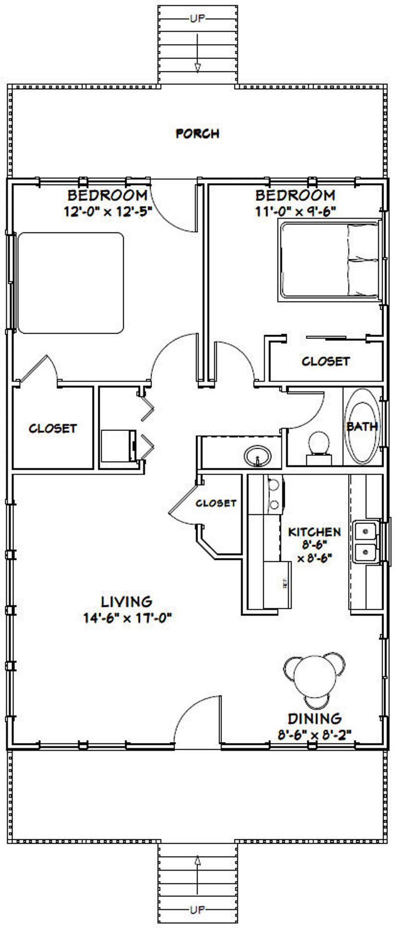 24x36 House 2 Bedroom 1 Bath 864 Sq Ft Pdf Floor Plan Etsy In 2021 Bedroom House Plans Cabin Floor Plans Small House Plans