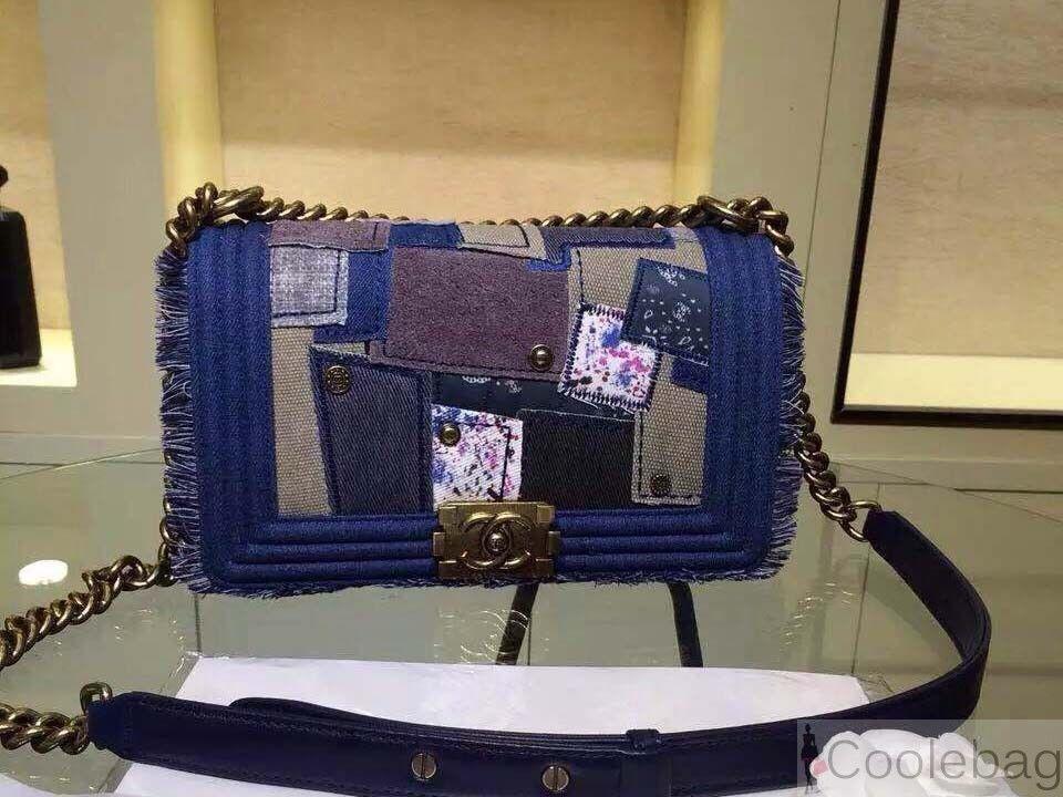 64eabba566d147 Chanel Denim Patchwork Boy Flap Bag a92687 | branded | Bags, Chanel ...