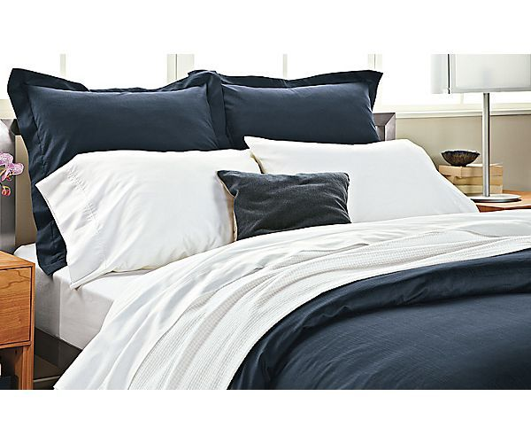 Bedroom Boards Ideas Collection percale top-stitched collection in ink and white - build the