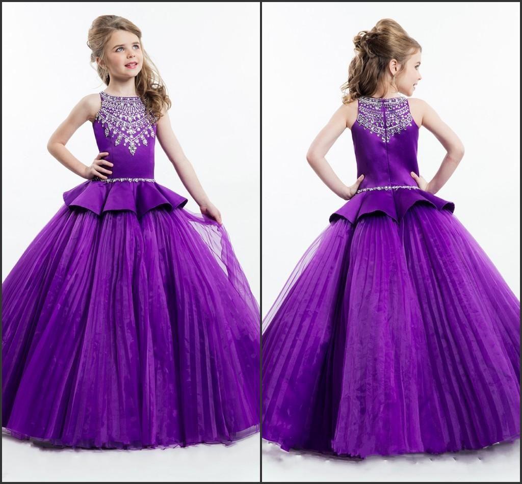 Designer 2016 Rachel Allan Pageant Dresses Girls Purple Color Princess Tulle Beaded Crystal Flower Little Girls Dresses For Wedding One Shoulder Dresses Cheap Formal Dresses From Molly_bridal, $86.84| Dhgate.Com