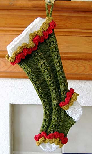 Ruffled Lace Christmas Stocking Knits Pinterest Stocking