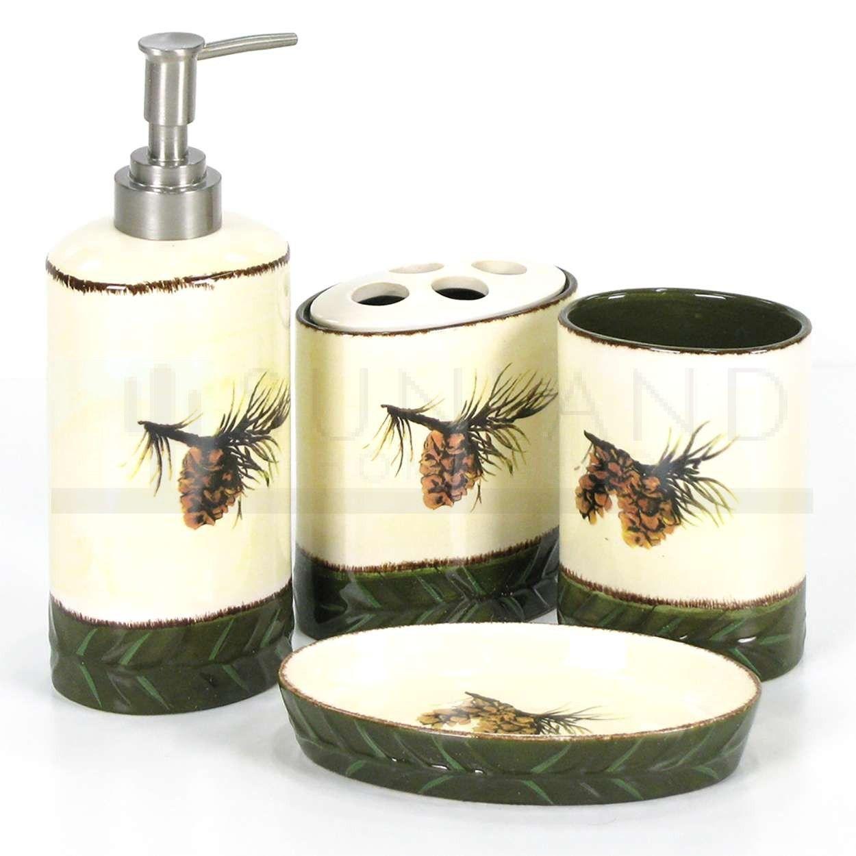 Sunland Home Decor: BA1800   4 Pc Bathroom Set   Pine Cone