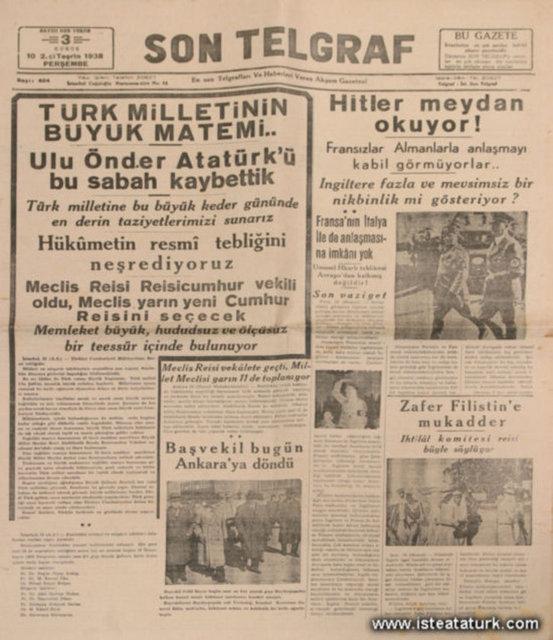 10 KASIM 1938 GAZETE MANŞETLERİ - NaLaN'ın Dünyası: #nlndnys #atam #ATATÜRK #Atatürk #10Kasım