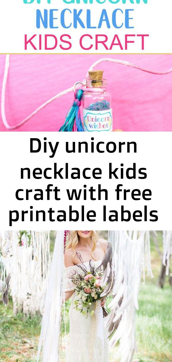 Diy unicorn necklace kids craft with free printable labels 3 #summerhomeorganization