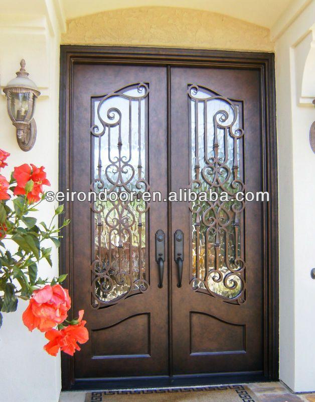 Mano forjado de hierro forjado puertas dobles para de for Puertas de entrada de hierro