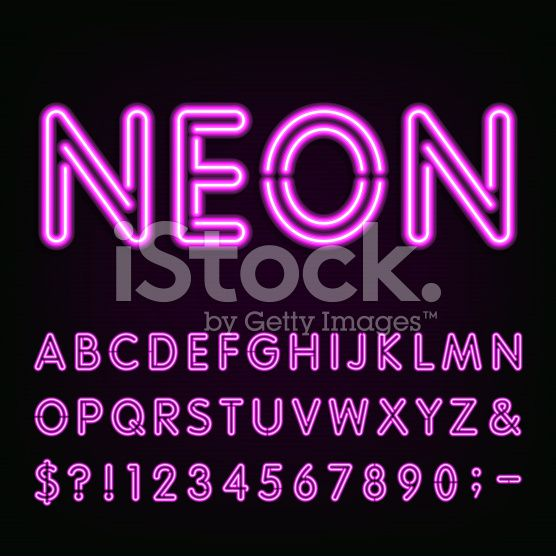 Purple Neon Light Alphabet Font Neon Effect Letters Numbers And