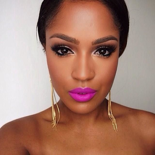 #motd by the beautiful @makeupshayla using our Matte Lipstick in 'Shocking Pink' and our Gel Liner and Smudger in 'Black'. thanks for tagging us!! || #nyxcosmetics #makeup
