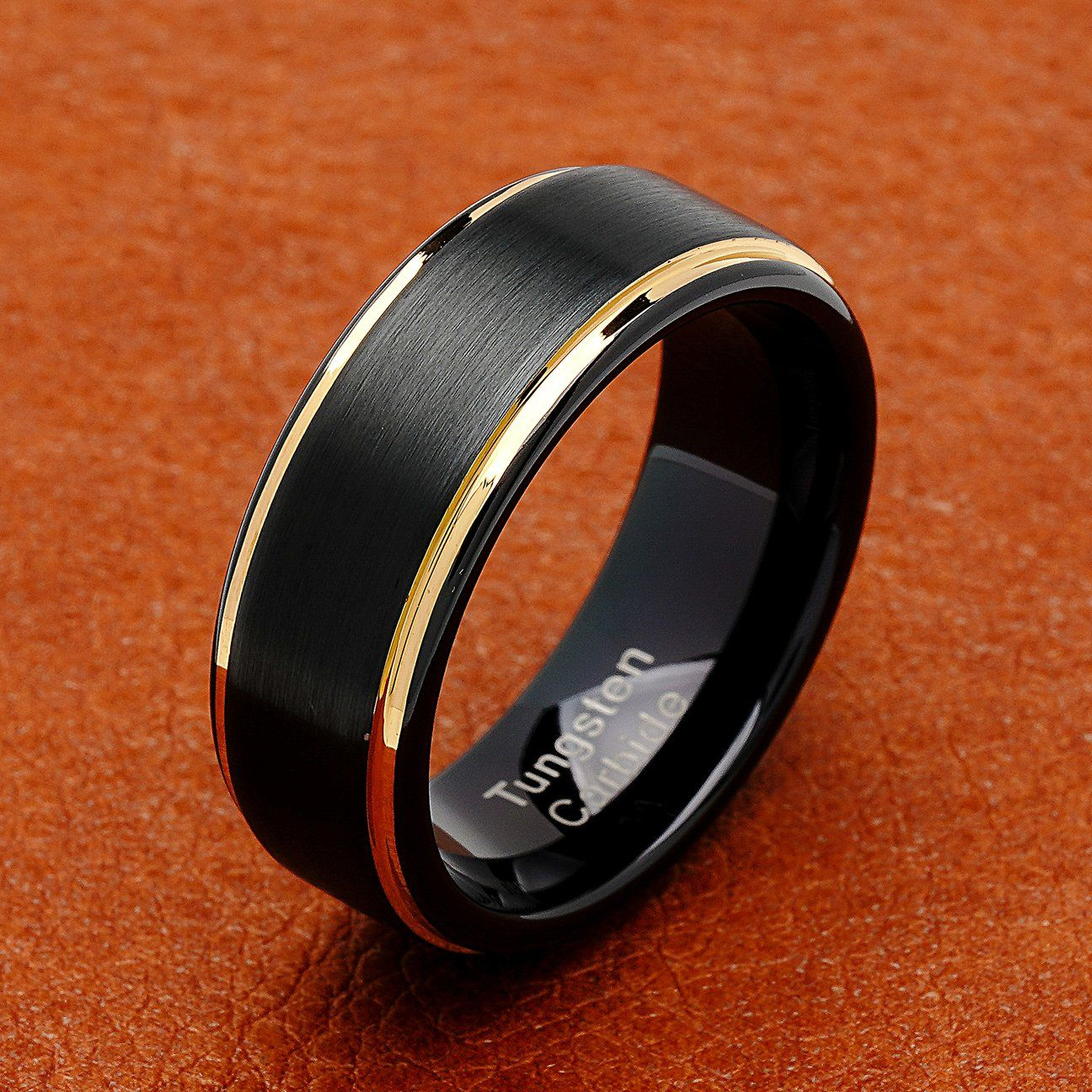 100s Jewelry Tungsten Rings For Men Two Tone Black Gold Wedding Band Center Brushed Engagement Size 6 16 Tungsten Mens Rings Mens Gold Wedding Band Mens Wedding Bands Tungsten