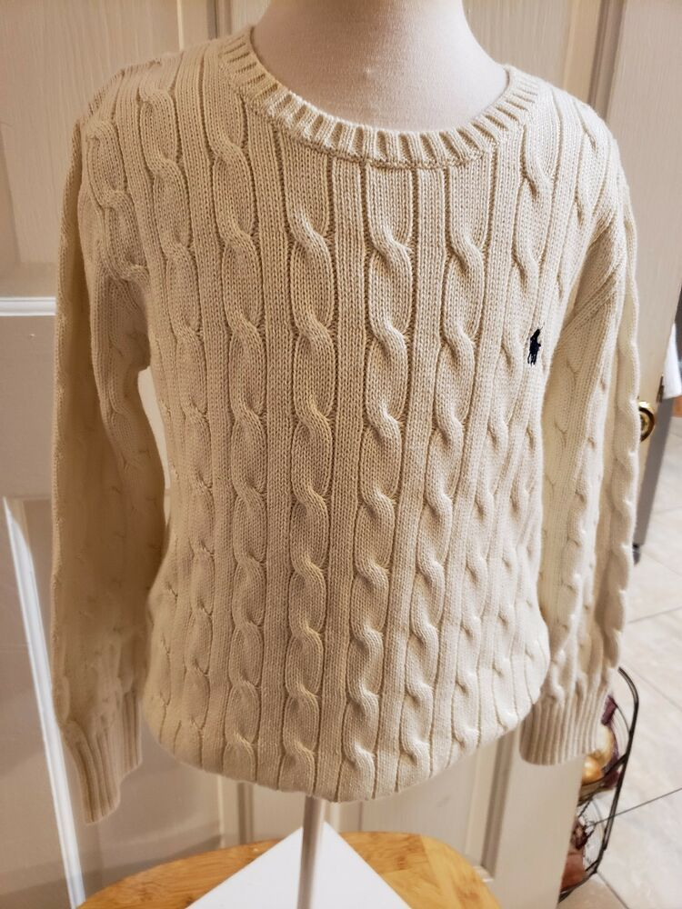 Polo Cable Off Size 7 Kids Ralph Lauren Pullover Boys Sweater White 8nvmwN0O