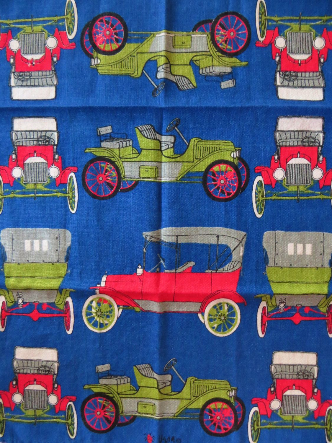 Vintage 60s Vera Linen Tea Towel, Antique Classic Cars, Model T Autos, Royal Blue, Vera Ladybug, Kitchen Accessory