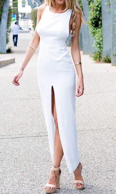 White Criss Cross Back Backless Split Dress 16.67