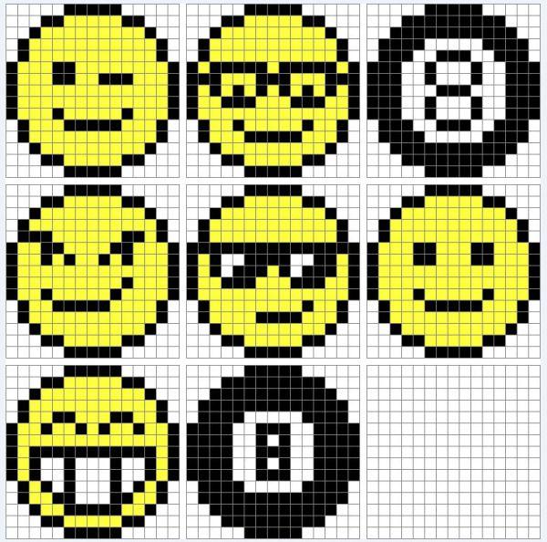 Quadrillage Pixel Smileys Riscos Pixel Art Facile