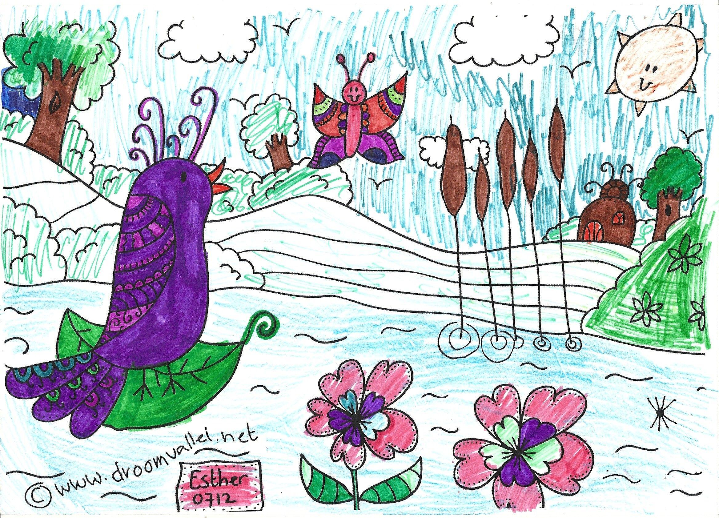 De Droomvallei Vogel Vera Kleurwedstrijd Is In Volle Gang Weer Zo Een Mooie Kleurplaat Van Een Yasmijn Ze Is Acht Oh Nee Zeven Wil Kleurplaten Vogels