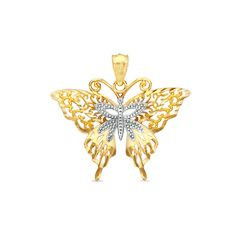 Fancy Filigree Butterfly Charm in 10K Two-Tone Gold - PAGODA.COM