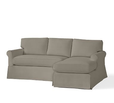 York Roll Arm Slipcovered Left Arm Sofa with Chaise Sectional, Down Blend Wrapped Cushions, Linen Blend Gunmetal Gray