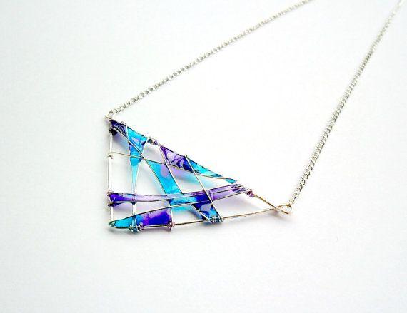 Geometric triangle necklace, purple turquoise resin pendant ...