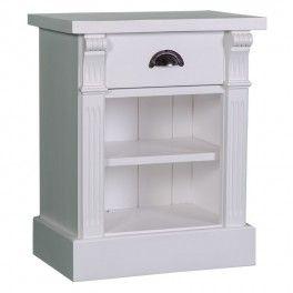 Table chevet 1 tiroir 2 niches en bois massif ''Cornouailles''