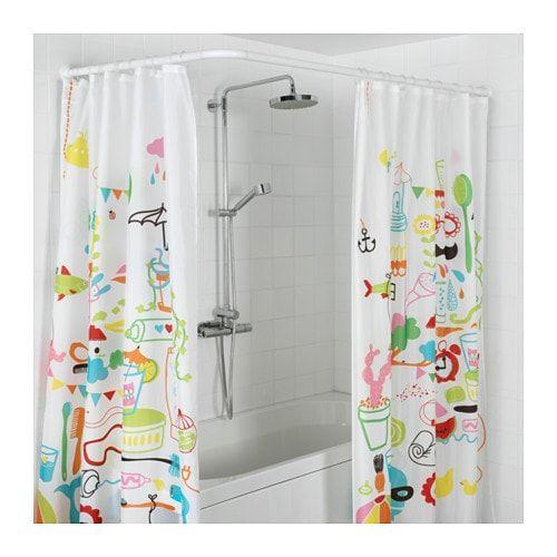Vikarn Tringle à Rideau De Douche Blanc Bathroom En 2019
