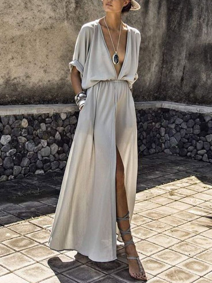 Photo of Solid maxi dress with vanadium groove and elastic waist …