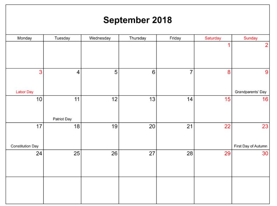 september 2018 calendar landscape with holidays