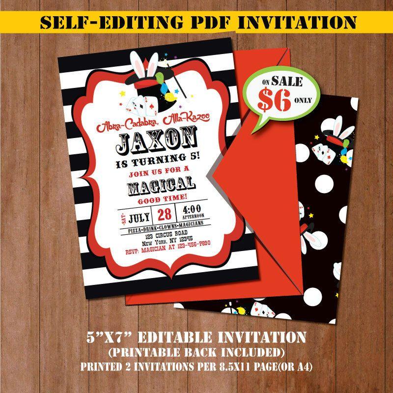 Magic Birthday Invitation-SELF-EDITING Magic Party invite--Magic ...