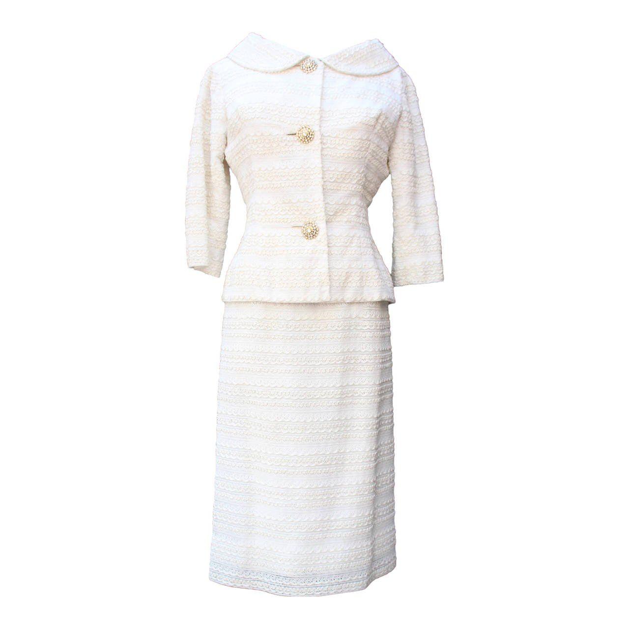 Lace dress jacket   Carven Haute Couture White Lace Dress and Jacket Ensemble