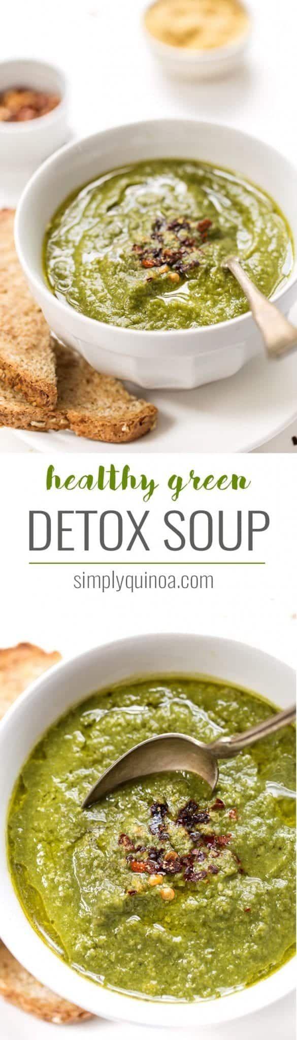 Super Healthy Green Detox Soup - Simply Quinoa #soupedetoxminceur