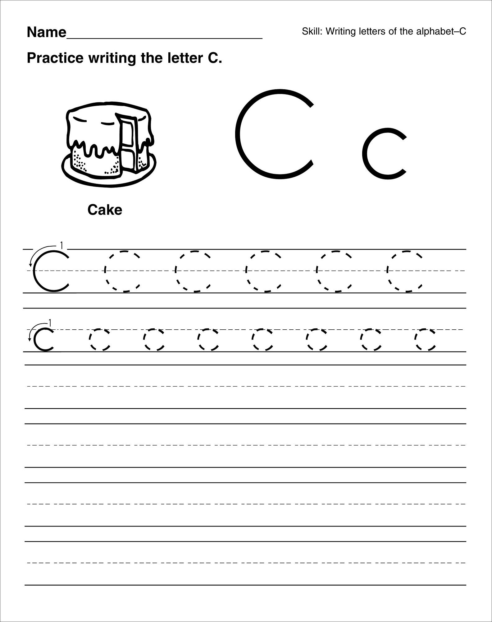 trace the letter c worksheets activity shelter kids worksheets printable pinterest. Black Bedroom Furniture Sets. Home Design Ideas