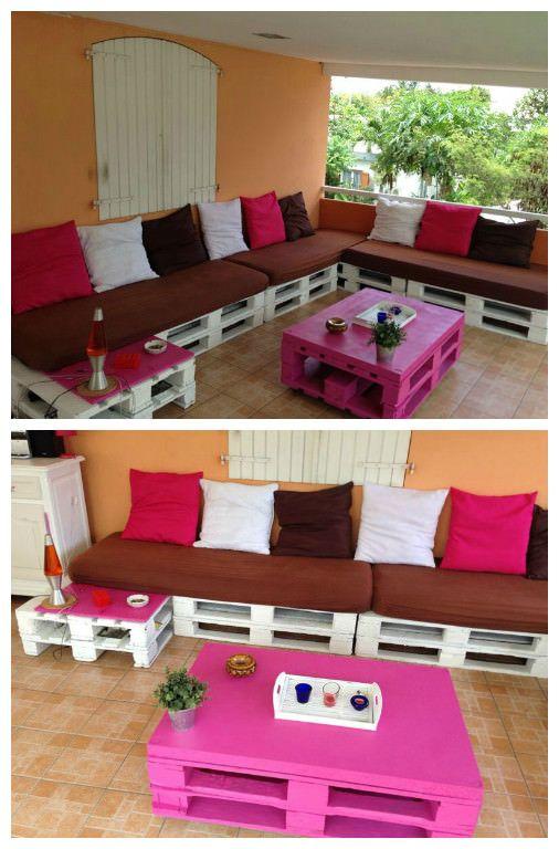 Canape D Angle En Palettes Corner Pallet Sofa Pallet Sofa Pallet Furniture Decor Pallet Furniture