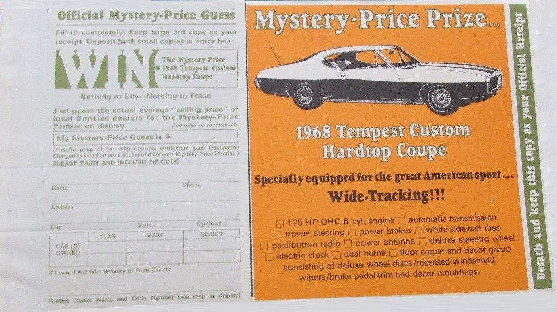 1968 Mystery Price Contest Mailer | PONTIAC OVERHEAD CAM