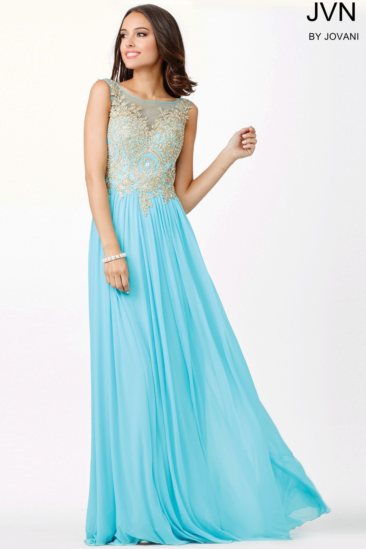 Jovani Prom Chiffon Sheer Neckline Dress JVN31494 | Prom 2016 ...