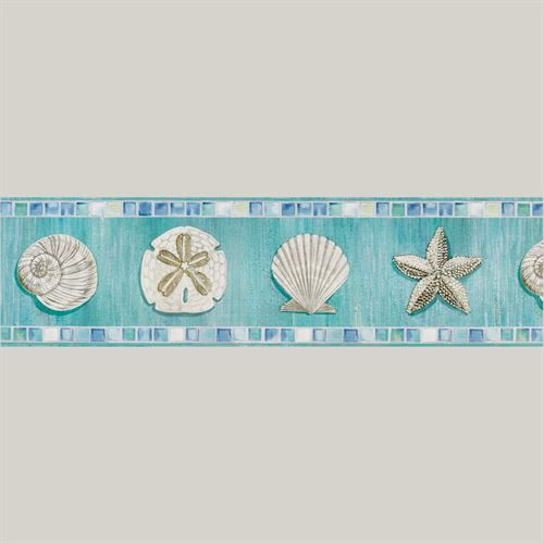 Ocean Mosaic Seashell Wallpaper Border Multi Cool Mosaic Wallpaper Blue Wallpapers Wallpaper Border